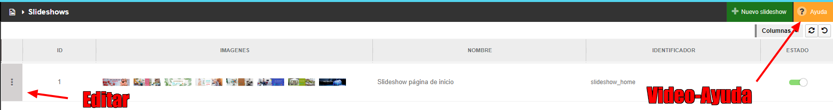 Editar Slideshow Shopincloud