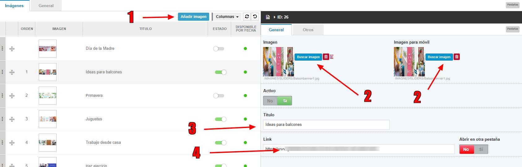 slideshow añadir imágenes Shopincloud
